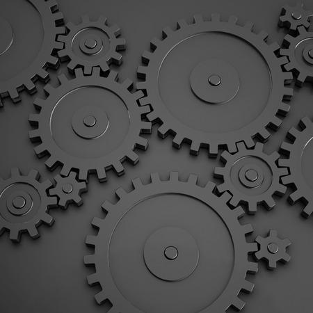 Gear wheels on black metal background. 3D illustration.