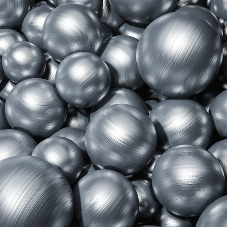 Scattered metal balls close-up. 3D illustration.