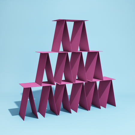 Balancing construction of cardboard tower on blue background. 3D illustration.