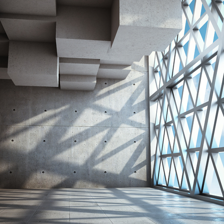 Architectural design of modern concrete hall with large window. 3D illustration. Imagens