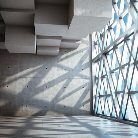 Architectural design of modern concrete hall with large window. 3D illustration. Archivio Fotografico - 101220943