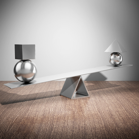 Balancing steel figures on wooden table. 3D illustration.