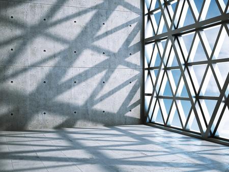 Architektonische Gestaltung der modernen Betonhalle. 3D-Illustration.