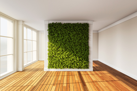 Wall in modern interior with vertical garden. 3D illustration. Stock Photo