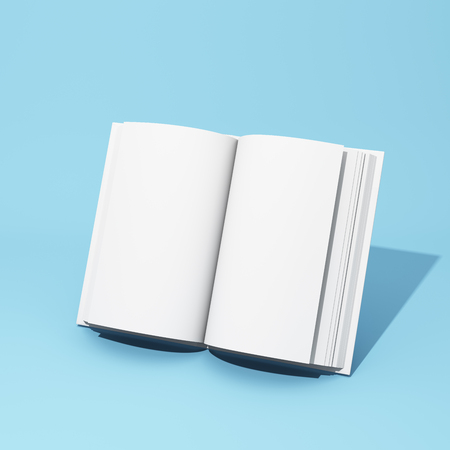 Blank open book on blue background. 3D illustration.