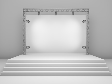 Blank trade exhibition stand with screen and spot lights. 3D illustration.