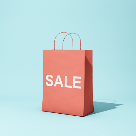 Red shopping bag with discount on blue background. 3D illustration.