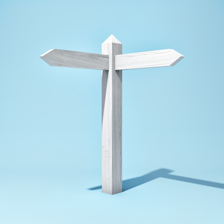 Empty wooden signpost with two arrows. 3D illustration. Фото со стока