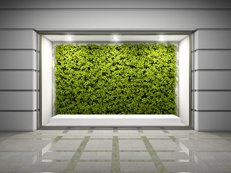 Empty storefront window with vertical green wall. 3D illustration.