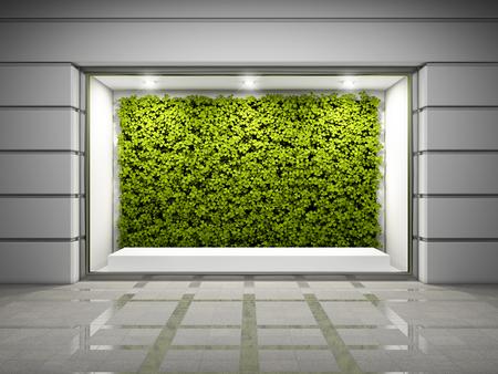 Finestra vetrina vuota con parete verde verticale. Illustrazione 3D.
