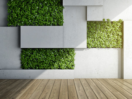 Wall in modern interior with concrete blocks and vertical garden. 3D illustration.