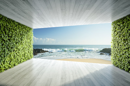 Modern lounge area with vertical gardens and view of sea. 3D illustration. Archivio Fotografico - 103237702