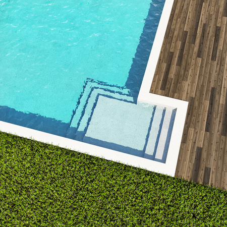 Swimming pool with wooden deck top view. 3D illustration. Stock Photo