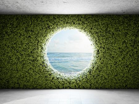 Gran ventana redonda en la pared de jardín vertical. Ilustración 3D. Foto de archivo