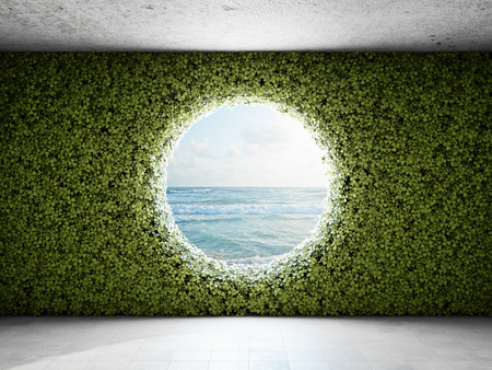 Large round window in the wall from vertical garden. 3D illustration.