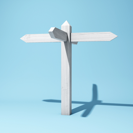 Empty wooden signpost with four arrows. 3D illustration.