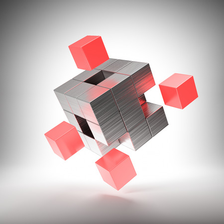 Metal cube with bright key elements. 3D illustration. Фото со стока