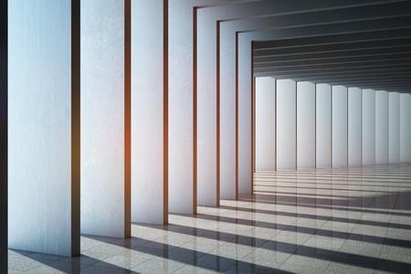 Architectural design of modern concrete hall. 3D illustration.