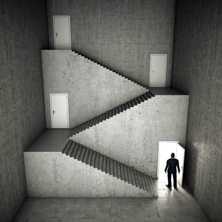 Businessman decides which choice to make. Staircase and open door with bright light. 3D illustration.