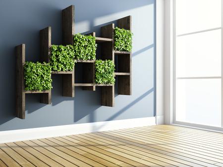Interior con estantes decorativos y jardín vertical. Ilustración 3D.