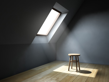Empty interior room with mansard window. 3D illustration.
