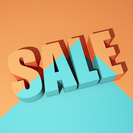 Colorful poster with sale words. 3D illustration.