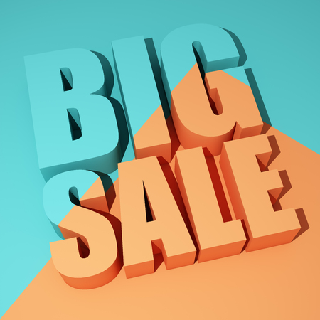 Colorful poster with big sale words. 3D illustration.