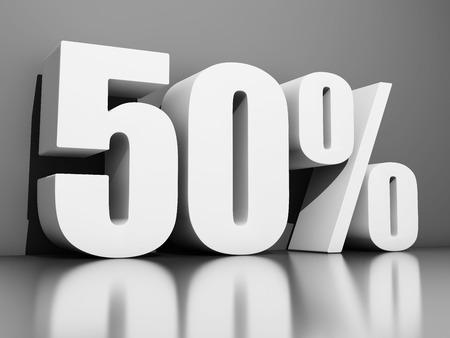 Cinquanta per cento di sconto su sfondo grigio. Illustrazione 3D.