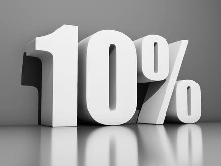 Zehn Prozent Rabatt auf grauen Hintergrund. 3D-Illustration. Standard-Bild