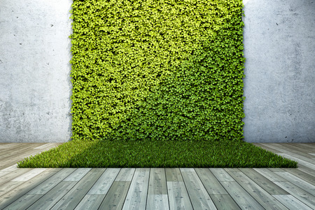 Cortile interno con giardino verticale. Illustrazione 3D.