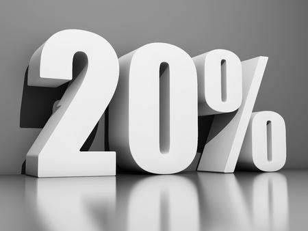 Zwanzig Prozent Rabatt auf grauen Hintergrund. 3D-Illustration. Standard-Bild