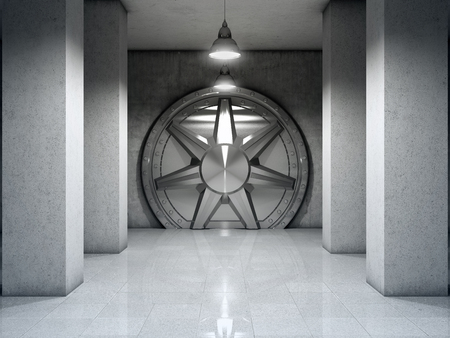 Bank vault with metal door. 3D illustration.
