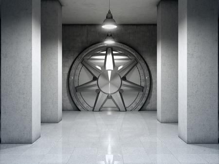 Bank vault with metal door. 3D illustration.