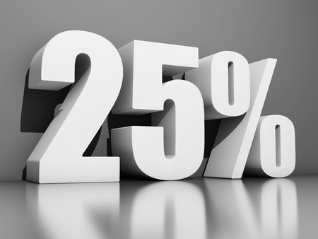Twenty five percent discount on gray background. 3D illustration. Stockfoto