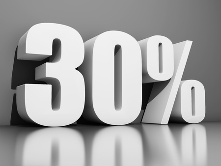 Thirty percent discount on gray background. 3D illustration. Stock Photo