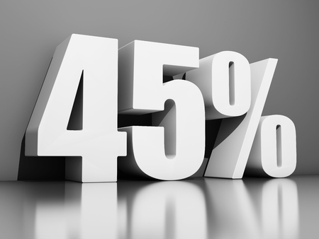 Forty five percent discount on gray background. 3D illustration.