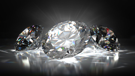 Diamond in bright light on black background. 3D illustration.