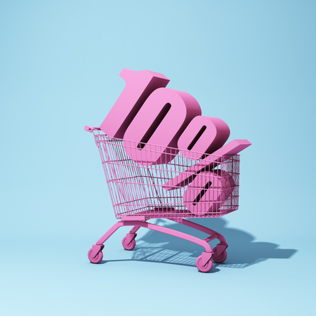 Shopping trolley with ten percent discount. 3D illustration. Stock Photo