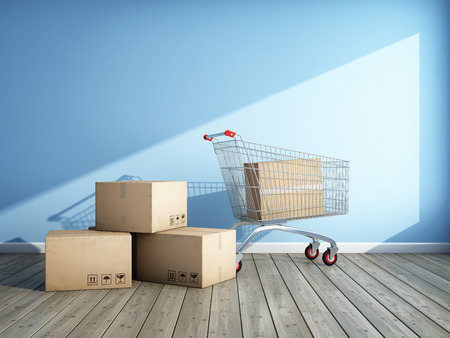 Shopping for new room. Cardboard boxes and shopping trolley. 3D illustration.