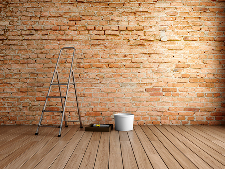 Brick wall in loft style room. 3D illustration.