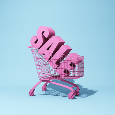 Shopping trolley with the word sale. 3D illustration. Stock Photo