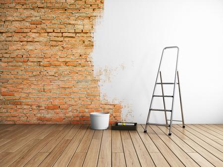 Reparación en estuco estilo loft con pintura de paredes de ladrillo. Ilustración 3D.
