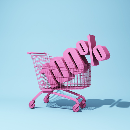 Shopping trolley with hundred percent discount. 3D illustration.