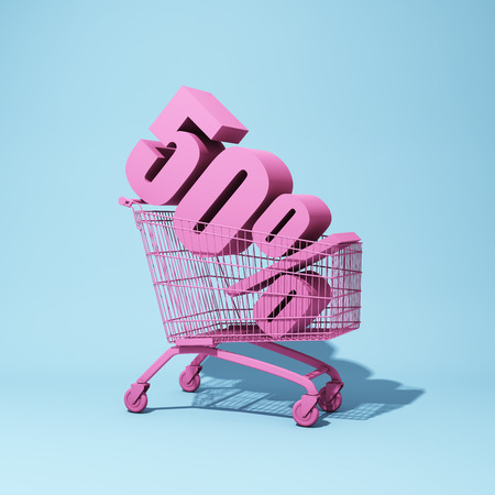 Shopping trolley with fifty percent discount. 3D illustration. Stockfoto