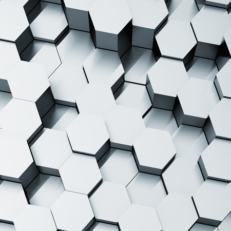 Abstract background of metal hexagonal cells. 3D illustration.