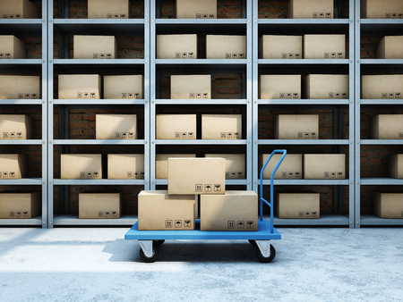 Warehouse with boxes and truck. 3D illustration.