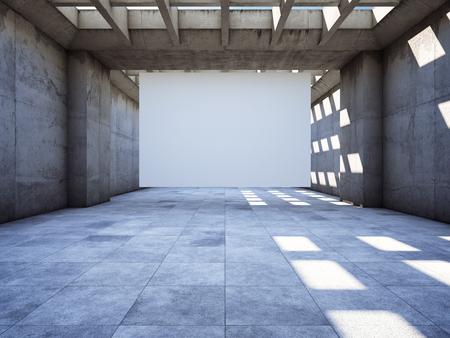 Blank advertising billboard in concrete tunnel. 3D illustration. Stock Photo