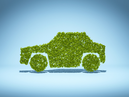 Concept of environmentally friendly car from green leaves. 3D illustration. 写真素材