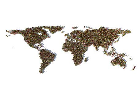 World map with different people isolated on white backgrounds. 3D illustration.