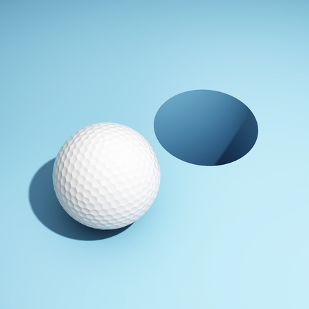 Golf ball and hole. Creative concept on blue background. 3D illustration.